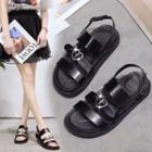 Faux-leather Adhesive Strap Sandals