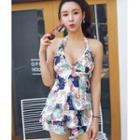 Set: Printed Bikini + Sleeveless Swim Top + Swim Skirt