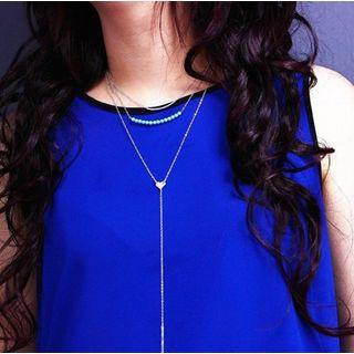 Alloy Heart Turquoise Bead Layered Y Necklace Gold - One Size