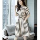 Drawstring Waist Striped Midi Dress