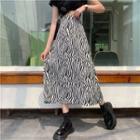 Zebra Pattern Long Skirt