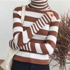 Long-sleeve Turtleneck Striped Sweater
