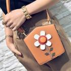 Flower Faux-leather Shoulder Bag