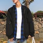 Hoop Detail Hooded Zip Jacket