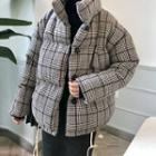 Padded Buttoned Plaid Coat