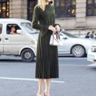 Long-sleeve Pleated A-line Midi Dress