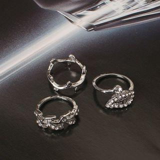Set Of 3: Rhinestone Leaf / Branches Ring Silver - One Size