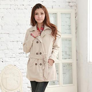 Wool-blend Double-breasted Trench Coat