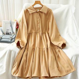 Tiered Midi A-line Shirtdress