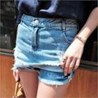 Inset Fray-hem Skirt Denim Shorts