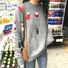 Santa Claus Printed Knit Top