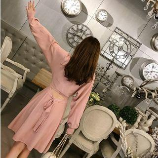 Knit Long-sleeve Cutout A-line Dress