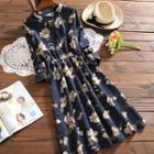 3/4-sleeve Floral Corduroy Dress
