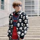 Skull Hooded Knit Zipup Jacket