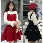 Frill Collar Blouse / Shoulder-tie A-line Velvet Dress