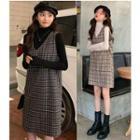 Turtleneck Long-sleeve Top / Plaid Pinafore Dress