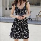 Sleeveless Floral Print Chiffon A-line Mini Dress