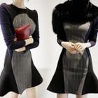 Long-sleeve Pinstriped Dress