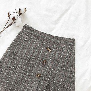Asymmetric Button Plaid A-line Skirt