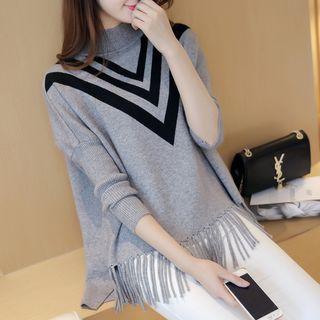 Mock-neck Fringed Hem Sweater
