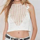 Sleeveless Cut-out Cropped Knit Top