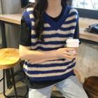 Striped Knit Vest Stripe - Blue - One Size