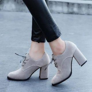 Chunky Heel Lace-up Oxfords