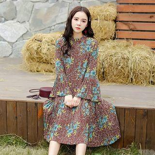 Floral Print Bell-sleeve Midi Chiffon Dress