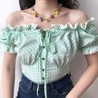 Short-sleeve Lace Trim Gingham Cropped Top