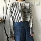 Striped Loose-fit Long-sleeve Cropped T-shirt