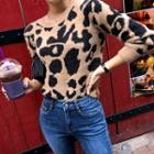 Leopard Furry-knit Top