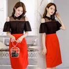 Cold Shoulder Short-sleeve Midi Dress Black & Red - 2xl
