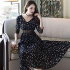 Star Print Lace Trim 3/4 Sleeve Chiffon Maxi Dress