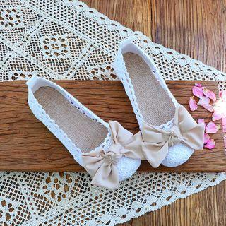 Lace Bow Accent Crochet Panel Flats