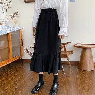 Ruffled Midi Skirt Black - One Size