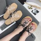 Lace Up Detail Slide Sandals
