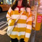 Letter Embroidered Striped Long-sleeve Knit Top