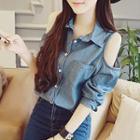 Cold Shoulder Denim Shirt Blue - One Size