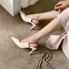 Pointy-toe Pin-heel Slingback Stilettos