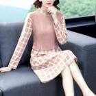 Mock Two-piece Long-sleeve Plaid Sheath Dress