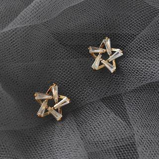 Rhinestone Star Earring 1 Pair - S925 Silver Needle - Gold - One Size