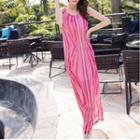 Sleeveless Patterned Maxi Chiffon Dress