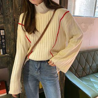 Bell-sleeve Ribbed Sweater As Shown In Figure - One Size