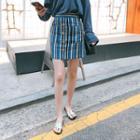 Button-trim Stripe Mini Skirt