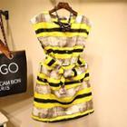 Sleeveless Striped Tie Waist Dress