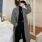 Tie-waist Houndstooth Long Coat