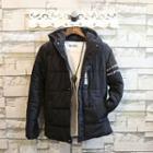 Lettering Hooded Padded Zip Jacket