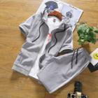 Set: Short-sleeve Hooded Zip-up Jacket + Sweatpants