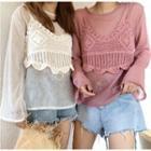 Set: Long-sleeve Sheer Top + Crochet Camisole Top