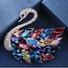 Swarovski Elements Crystal Swan Brooch Swan Brooch - Multicolor - One Size